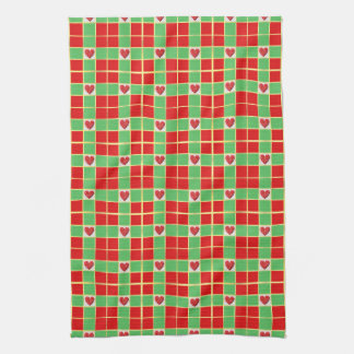 Christmas Hearts Kitchen Towel