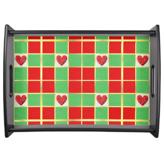 Christmas Hearts Large Serving Tray, Black Serving Tray