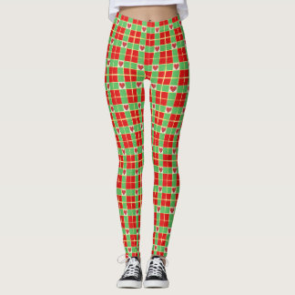Christmas Hearts Leggings, M (8-10) Leggings