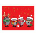 Christmas hedgehogs postcard