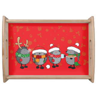 Christmas hedgehogs serving tray