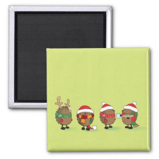 Christmas hedgehogs square magnet