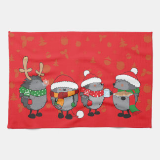 Christmas hedgehogs tea towel