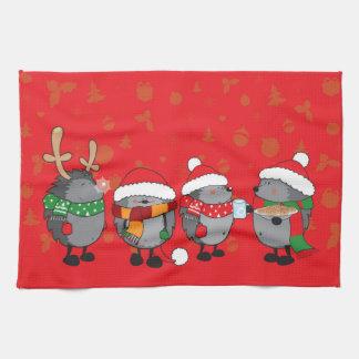 Christmas hedgehogs tea towels