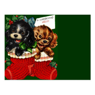 Christmas Hello Puppies Postcard