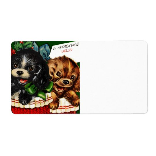 Christmas Hello Puppies Shipping Label