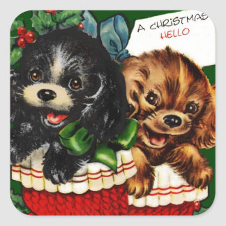 Christmas Hello Puppies Square Sticker