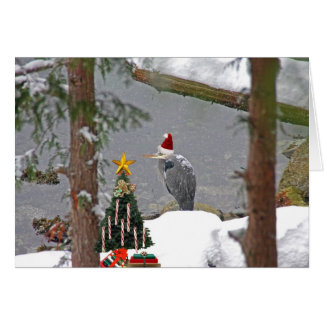 Christmas Heron in Snow Photo Greeting Card
