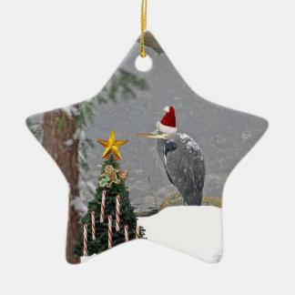 Christmas Heron in Snow Photo Ceramic Star Decoration