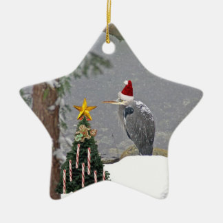 Christmas Heron in Snow Photo Christmas Ornament