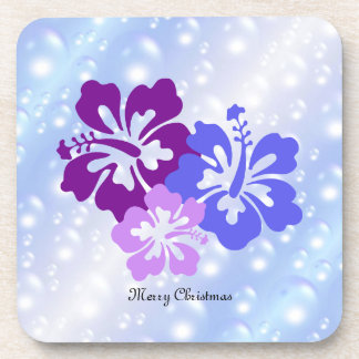 Christmas Hibiscus in Shades of Purple Coaster