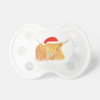 Christmas Highland cow dummy, baby pacifier