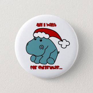 Christmas Hippo 6 Cm Round Badge