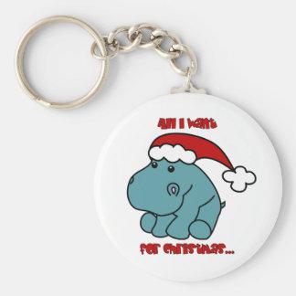 Christmas Hippo Key Ring