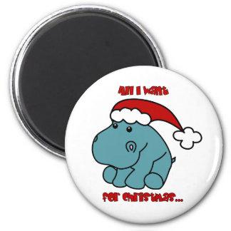 Christmas Hippo Magnet