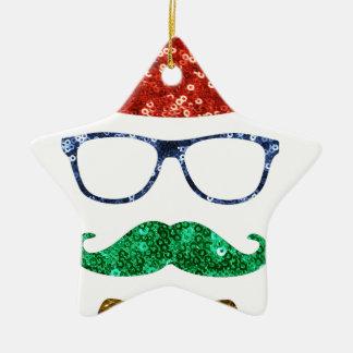 christmas hipster mustache christmas ornament