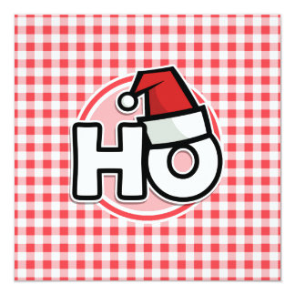 Christmas HO; Red and White Gingham 13 Cm X 13 Cm Square Invitation Card