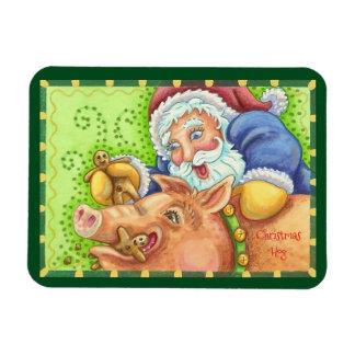 Christmas Hog And Santa MAGNET