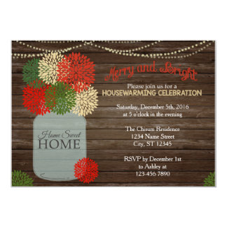 Christmas Holida Mason Jar Housewarming Invitation