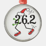 Christmas Holiday 26.2 Funny Marathon 26 2 Runner Silver-Colored Round Decoration