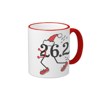 Christmas Holiday 26.2 Funny Marathon Runner Ringer Mug