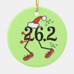 Christmas Holiday 26.2 © Funny Marathon Runner Round Ceramic Decoration