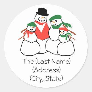 Christmas Holiday Address Label-Snowmen Family Classic Round Sticker