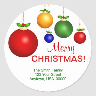 Christmas Holiday Address Labels Round Sticker