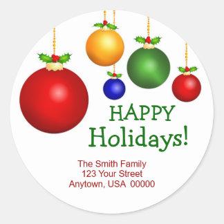 Christmas Holiday Address Labels Round Sticker