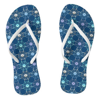 christmas holiday blue pattern flip flops