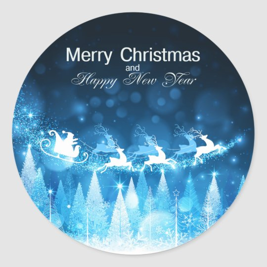 Christmas Holiday Blue Santa and Sleigh Classic Round