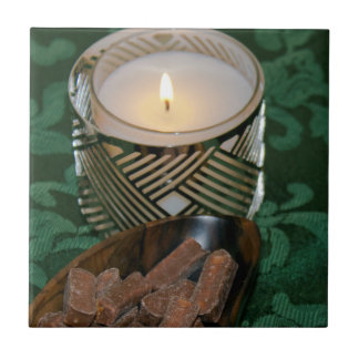 Christmas Holiday Candle and Chocolate Candies Small Square Tile