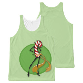 CHRISTMAS HOLIDAY CANDY CANE WOMAN TANK TOP