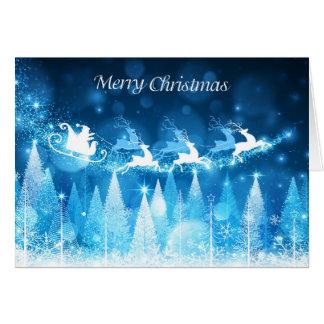 Christmas Holiday Card - Blue Santa Sleigh