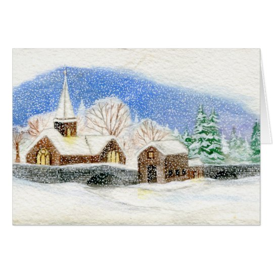 Christmas / Holiday Card: Snowy Village watercolor Card
