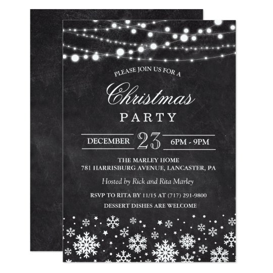 Christmas Holiday Chalk Party Invitation