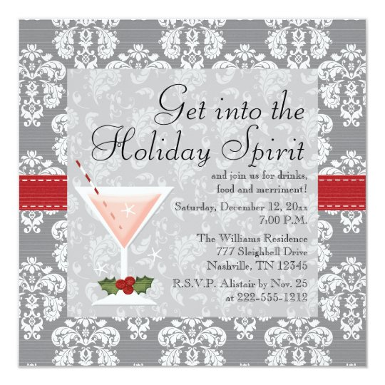 Christmas Cocktail Party Invitations.Christmas Holiday Cocktail Party Invitations