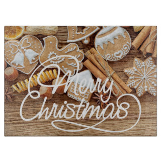 Christmas Holiday cookie glass cutting board