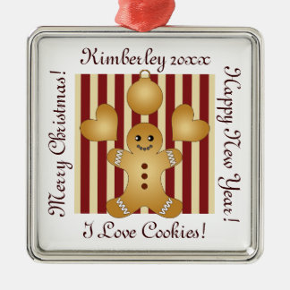 Christmas Holiday Cookies Red Stripes Cute Silver-Colored Square Decoration