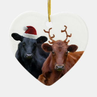 Christmas Holiday Cows in Santa Hat and Antlers Christmas Ornament
