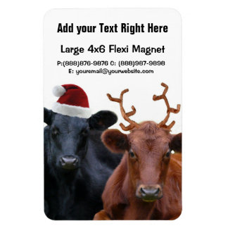 Christmas Holiday Cows in Santa Hat and Antlers Rectangular Photo Magnet
