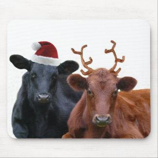 Christmas Holiday Cows in Santa Hat and Antlers Mouse Pad