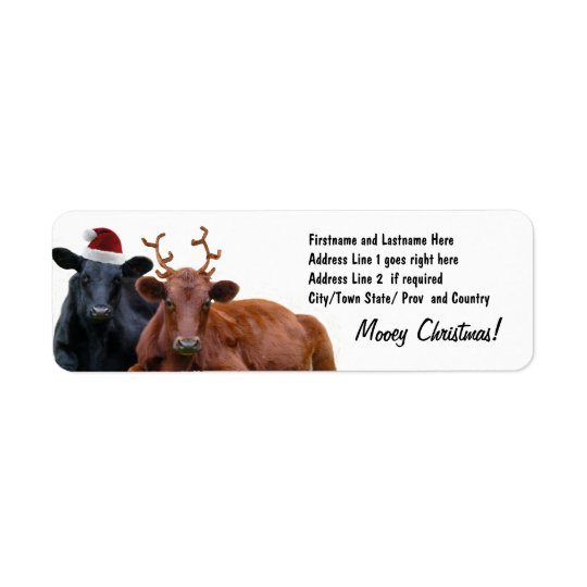 Christmas Holiday Cows in Santa Hat and Antlers Return Address Label