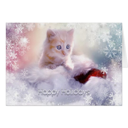 Christmas Holiday - Cute Kitten with SnowFlakes Card
