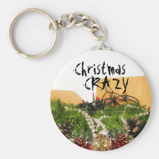 Christmas Holiday Decorations in Box Basic Round Button Key Ring