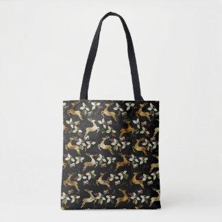 Christmas Holiday - Deer & Mistletoe Tote Bag