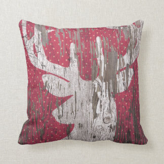 Christmas Holiday Deer Reindeer Red White Pillow