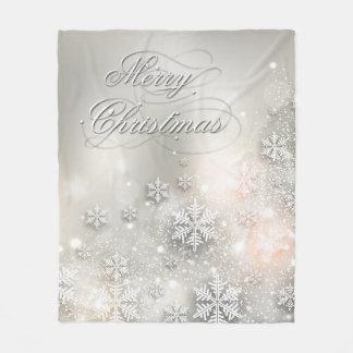 Christmas Holiday Elegant Snowflake Fleece Blanket