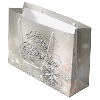 Christmas Holiday Elegant Snowflake Large Gift Bag