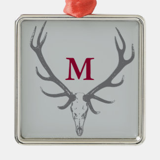 Christmas Holiday Elk Custom Monogram Silver-Colored Square Decoration